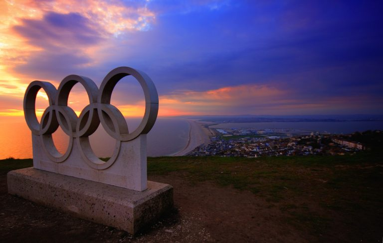 Portland sunset Olympic rings